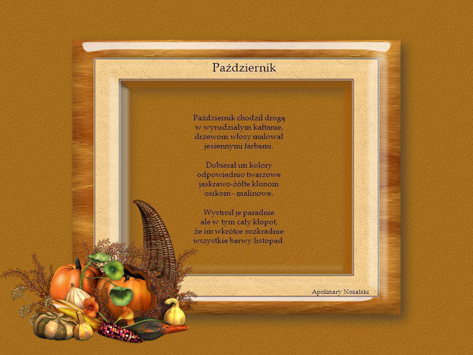 Październik Październik chodził drogą w wyrudziałym kaftanie, drzewom włosy malował jesiennymi farbami. Dobierał im kolory odpowiednio twarzowe jaskra