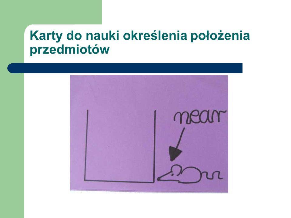 Karty do nauki określenia położenia przedmiotów