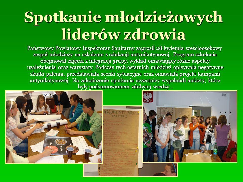 Spotkanie młodzieżowych liderów zdrowia Państwowy Powiatowy Inspektorat Sanitarny zaprosił 28 kwietnia sześcioosobowy zespół młodzieży na szkolenie z