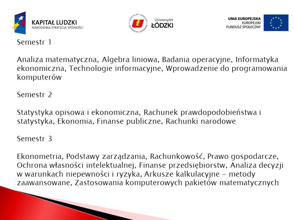 Semestr 1 Analiza matematyczna, Algebra liniowa, Badania operacyjne, Informatyka ekonomiczna, Technologie informacyjne, Wprowadzenie do programowania