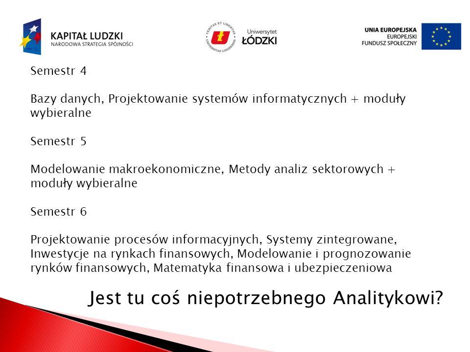 Semestr 4 Bazy danych, Projektowanie systemów informatycznych + moduły wybieralne Semestr 5 Modelowanie makroekonomiczne, Metody analiz sektorowych +