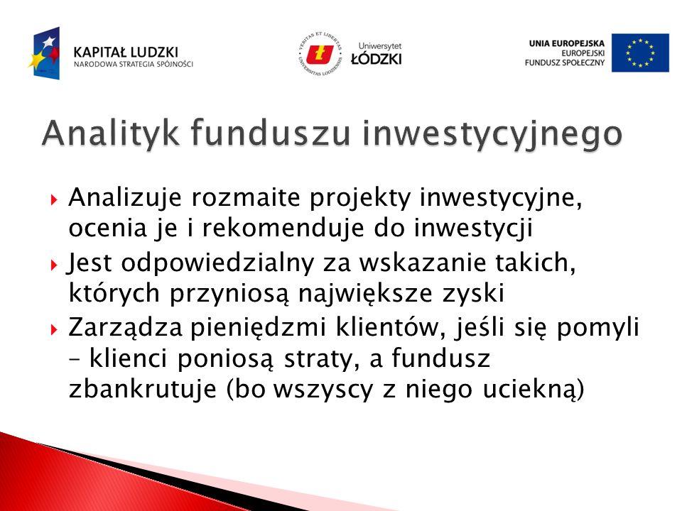 Analizuje rozmaite projekty inwestycyjne, ocenia je i rekomenduje do inwestycji Jest odpowiedzialny za wskazanie takich, których przyniosą największe