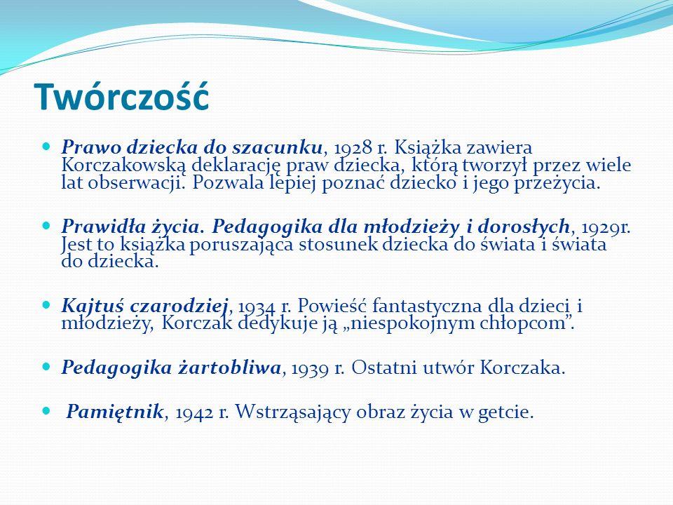 Twórczość Prawo dziecka do szacunku, 1928 r. Książka zawiera Korczakowską deklarację praw dziecka, którą tworzył przez wiele lat obserwacji. Pozwala l