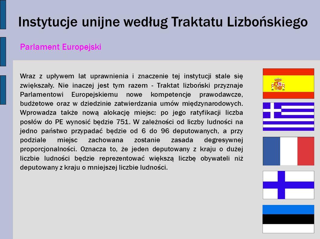 Instytucje unijne według Traktatu Lizbońskiego Parlament Europejski Wraz z upływem lat uprawnienia i znaczenie tej instytucji stale się zwiększały. Ni