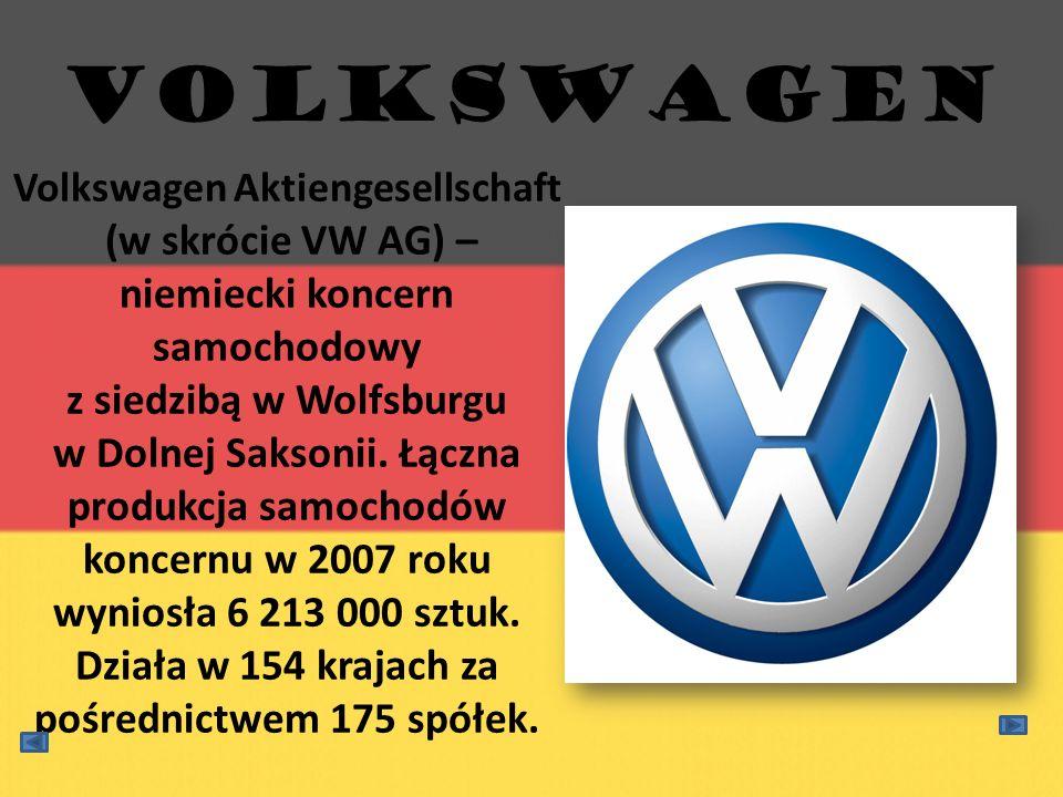 Volkswagen Aktiengesellschaft (w skrócie VW AG) – niemiecki koncern samochodowy z siedzibą w Wolfsburgu w Dolnej Saksonii. Łączna produkcja samochodów