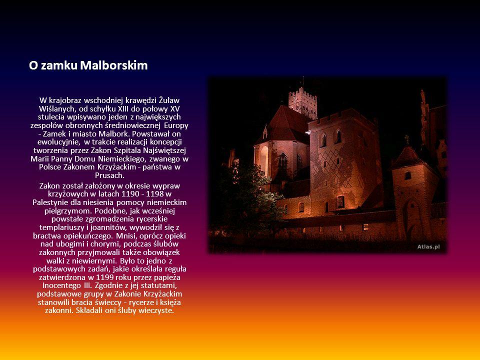 O zamku Malborskim W krajobraz wschodniej krawędzi Żuław Wiślanych, od schyłku XIII do połowy XV stulecia wpisywano jeden z największych zespołów obro