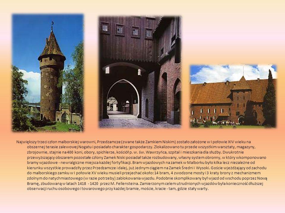 Największy trzeci człon malborskiej warowni, Przedzamcze (zwane także Zamkiem Niskim) zostało założone w I połowie XIV wieku na obszernej terasie zale