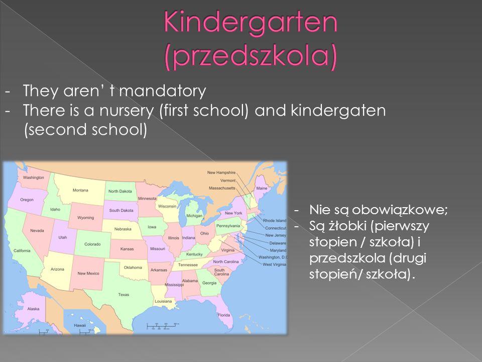 -They aren t mandatory -There is a nursery (first school) and kindergaten (second school) -Nie są obowiązkowe; -Są żłobki (pierwszy stopien / szkoła) i przedszkola (drugi stopień/ szkoła).