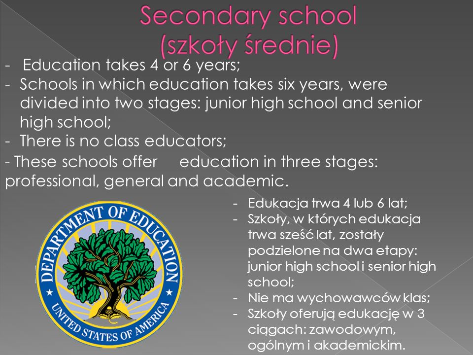 -Education takes 4 or 6 years; -Schools in which education takes six years, were divided into two stages: junior high school and senior high school; -There is no class educators; - These schools offer education in three stages: professional, general and academic.