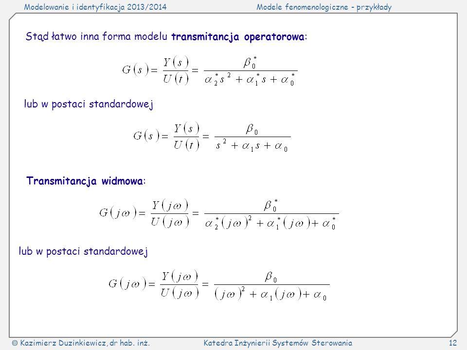 Modelowanie i identyfikacja 2013/2014Modele fenomenologiczne - przykłady Kazimierz Duzinkiewicz, dr hab. inż.Katedra Inżynierii Systemów Sterowania12
