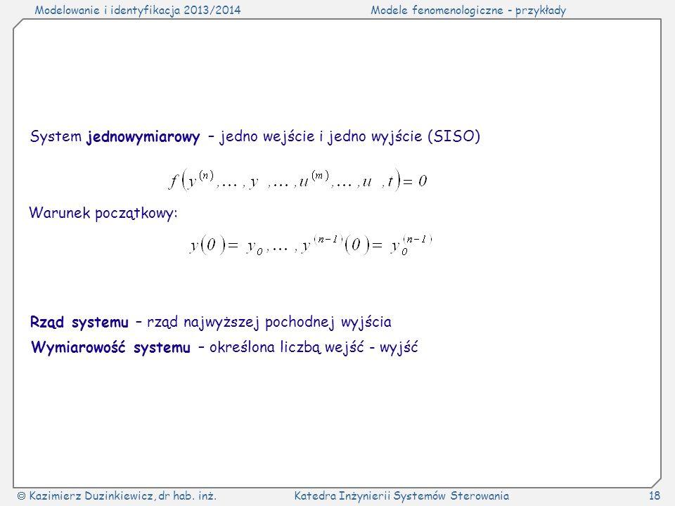 Modelowanie i identyfikacja 2013/2014Modele fenomenologiczne - przykłady Kazimierz Duzinkiewicz, dr hab. inż.Katedra Inżynierii Systemów Sterowania18