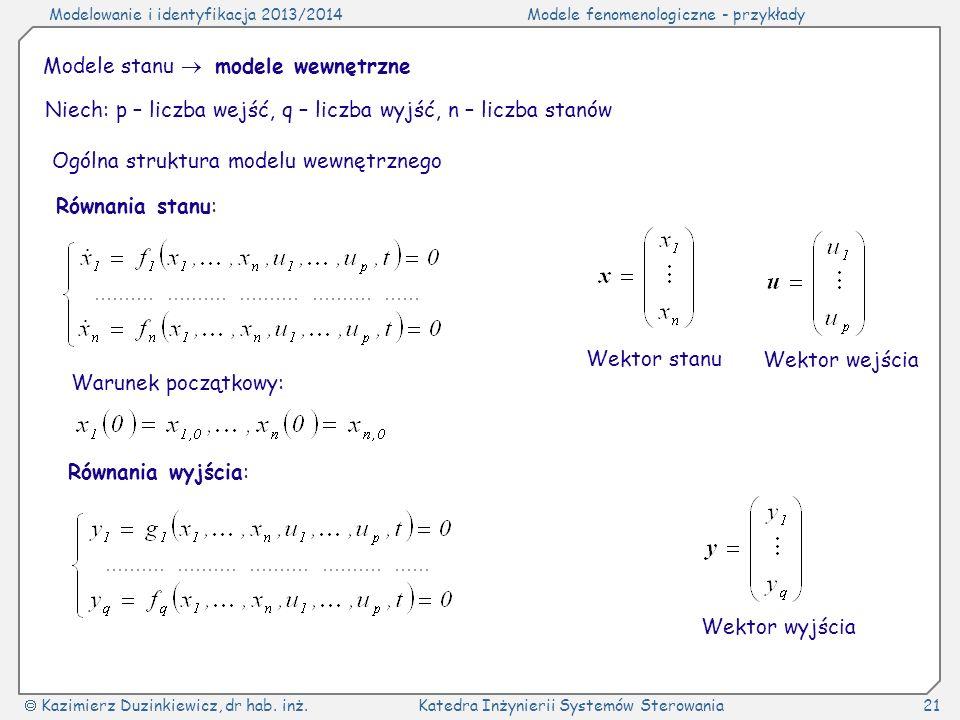 Modelowanie i identyfikacja 2013/2014Modele fenomenologiczne - przykłady Kazimierz Duzinkiewicz, dr hab. inż.Katedra Inżynierii Systemów Sterowania21