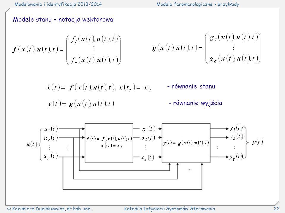 Modelowanie i identyfikacja 2013/2014Modele fenomenologiczne - przykłady Kazimierz Duzinkiewicz, dr hab. inż.Katedra Inżynierii Systemów Sterowania22