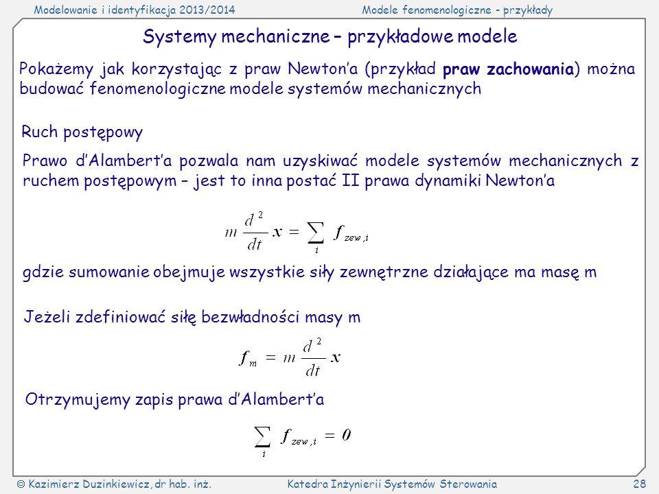 Modelowanie i identyfikacja 2013/2014Modele fenomenologiczne - przykłady Kazimierz Duzinkiewicz, dr hab. inż.Katedra Inżynierii Systemów Sterowania28