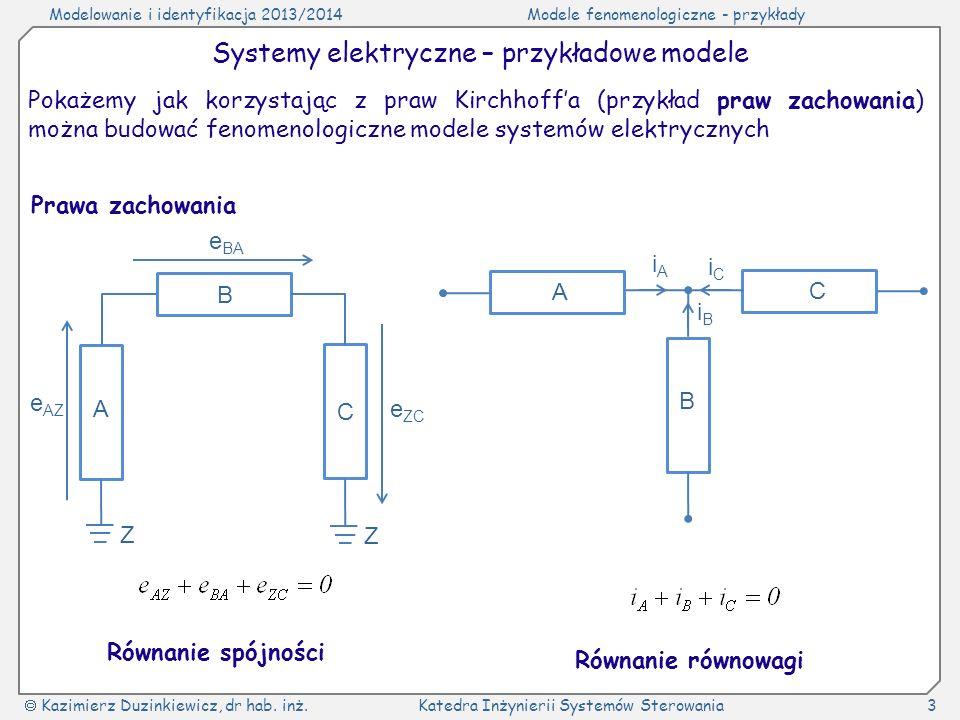 Modelowanie i identyfikacja 2013/2014Modele fenomenologiczne - przykłady Kazimierz Duzinkiewicz, dr hab. inż.Katedra Inżynierii Systemów Sterowania3 S