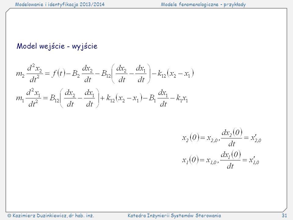 Modelowanie i identyfikacja 2013/2014Modele fenomenologiczne - przykłady Kazimierz Duzinkiewicz, dr hab. inż.Katedra Inżynierii Systemów Sterowania31