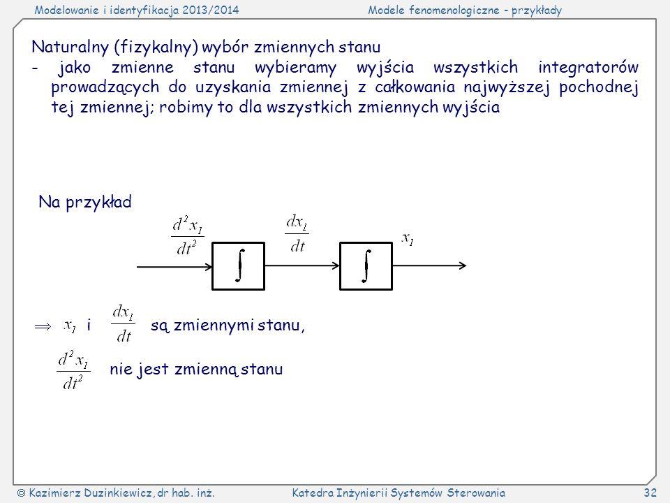 Modelowanie i identyfikacja 2013/2014Modele fenomenologiczne - przykłady Kazimierz Duzinkiewicz, dr hab. inż.Katedra Inżynierii Systemów Sterowania32