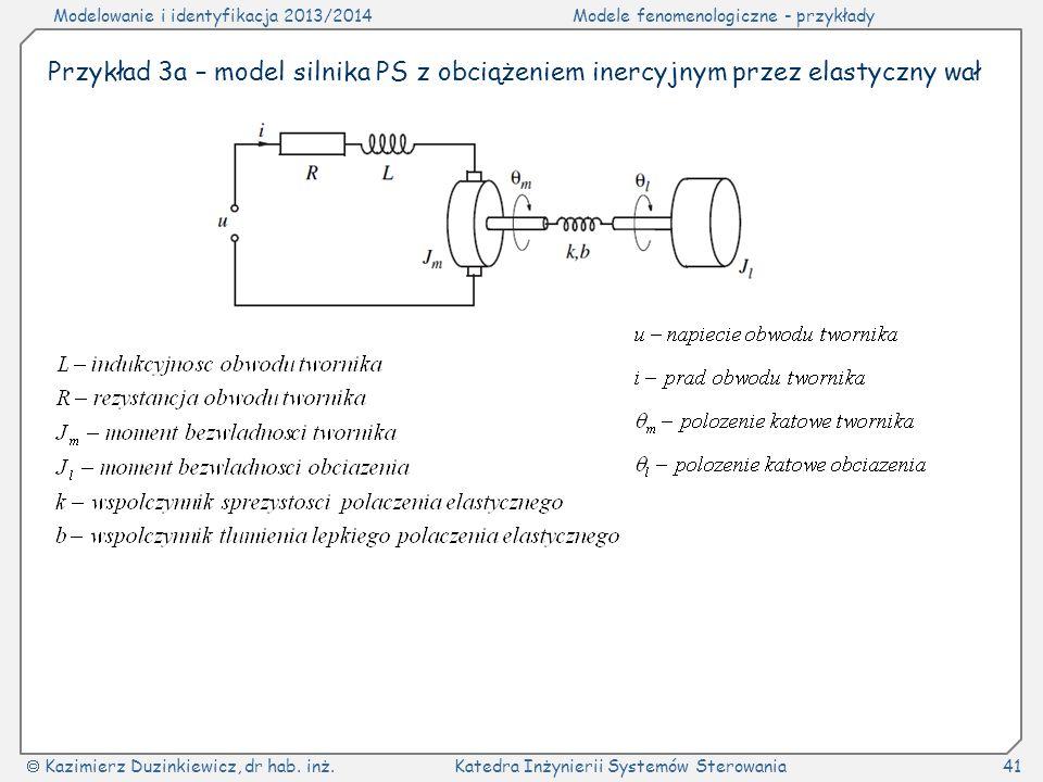 Modelowanie i identyfikacja 2013/2014Modele fenomenologiczne - przykłady Kazimierz Duzinkiewicz, dr hab. inż.Katedra Inżynierii Systemów Sterowania41