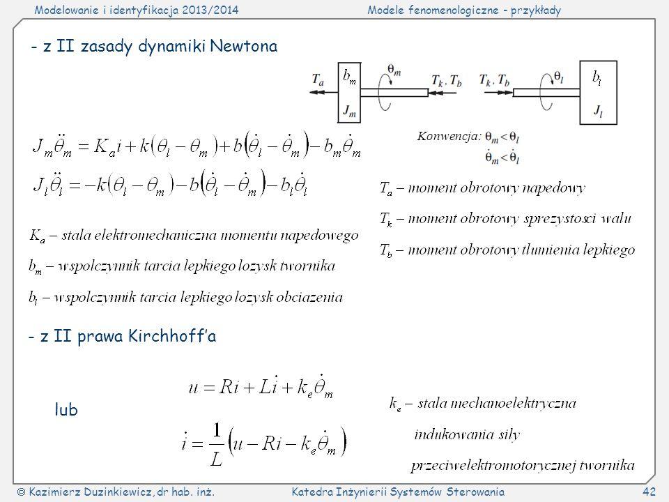 Modelowanie i identyfikacja 2013/2014Modele fenomenologiczne - przykłady Kazimierz Duzinkiewicz, dr hab. inż.Katedra Inżynierii Systemów Sterowania42