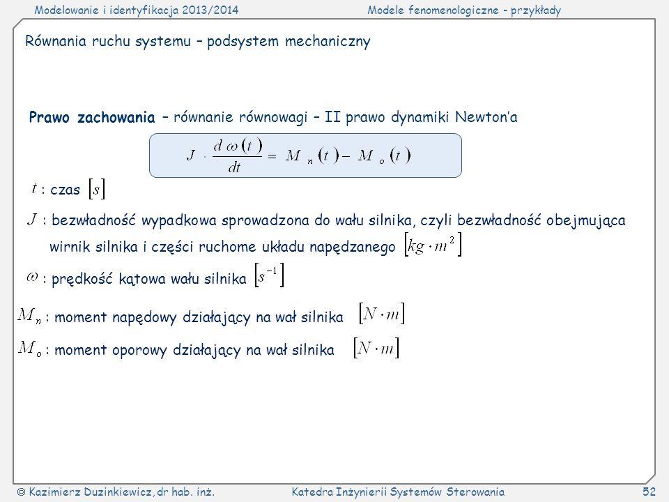 Modelowanie i identyfikacja 2013/2014Modele fenomenologiczne - przykłady Kazimierz Duzinkiewicz, dr hab. inż.Katedra Inżynierii Systemów Sterowania52