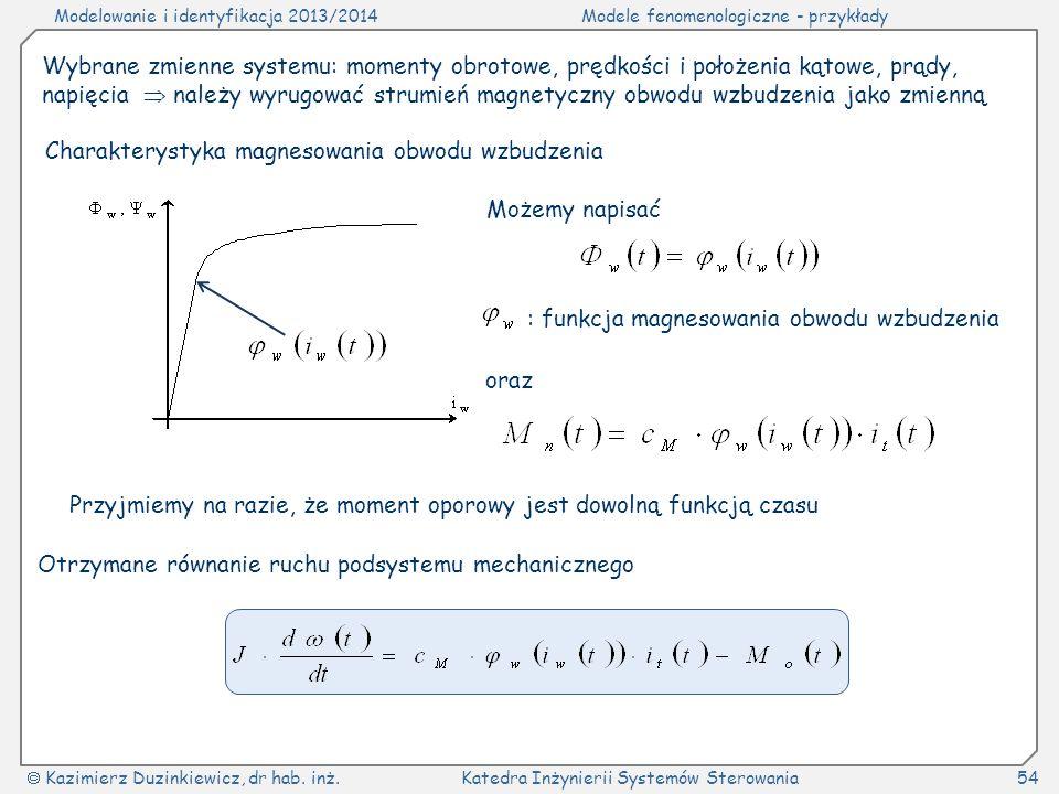 Modelowanie i identyfikacja 2013/2014Modele fenomenologiczne - przykłady Kazimierz Duzinkiewicz, dr hab. inż.Katedra Inżynierii Systemów Sterowania54