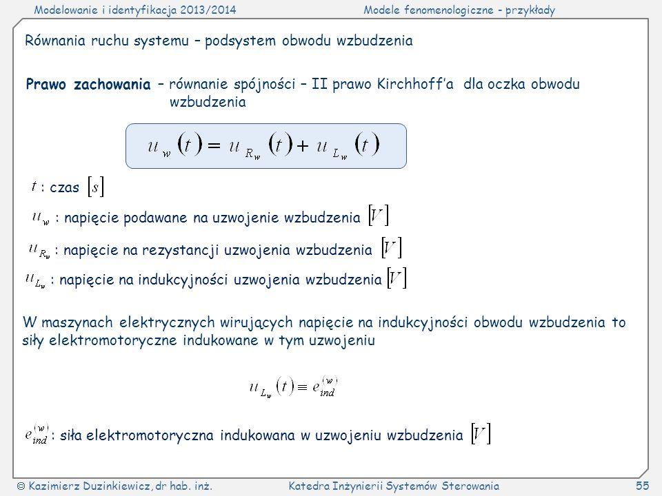 Modelowanie i identyfikacja 2013/2014Modele fenomenologiczne - przykłady Kazimierz Duzinkiewicz, dr hab. inż.Katedra Inżynierii Systemów Sterowania55