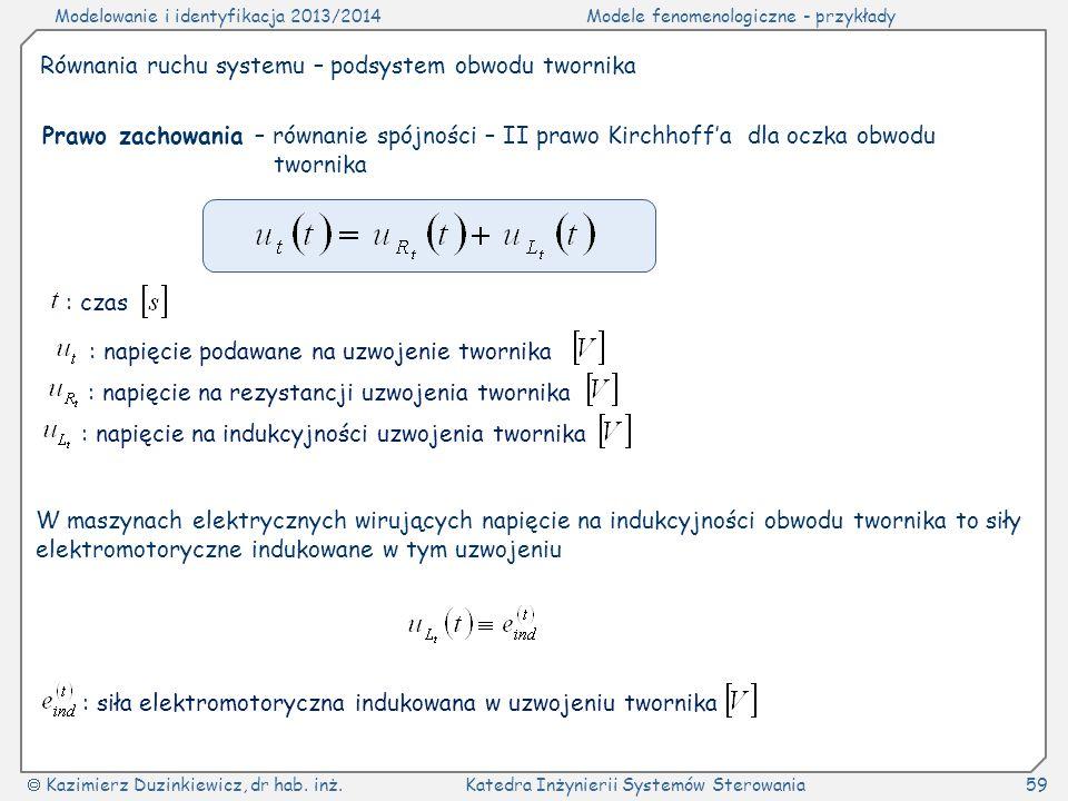 Modelowanie i identyfikacja 2013/2014Modele fenomenologiczne - przykłady Kazimierz Duzinkiewicz, dr hab. inż.Katedra Inżynierii Systemów Sterowania59