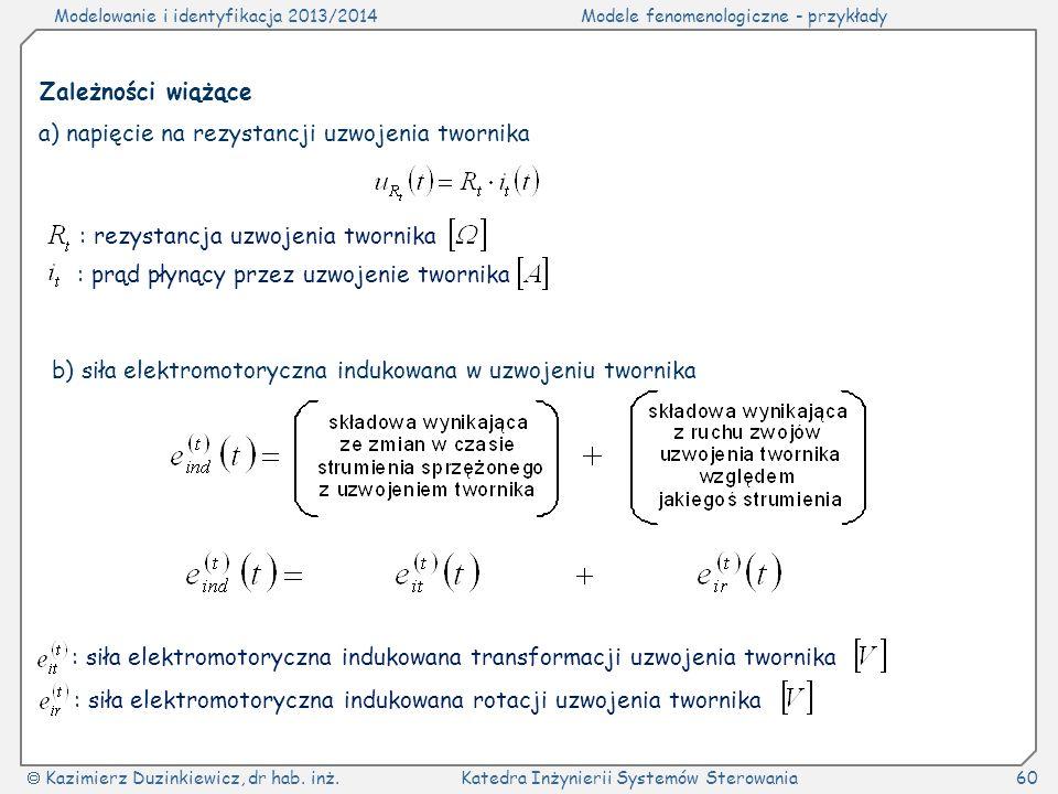 Modelowanie i identyfikacja 2013/2014Modele fenomenologiczne - przykłady Kazimierz Duzinkiewicz, dr hab. inż.Katedra Inżynierii Systemów Sterowania60
