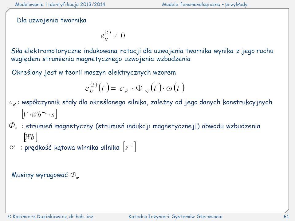 Modelowanie i identyfikacja 2013/2014Modele fenomenologiczne - przykłady Kazimierz Duzinkiewicz, dr hab. inż.Katedra Inżynierii Systemów Sterowania61
