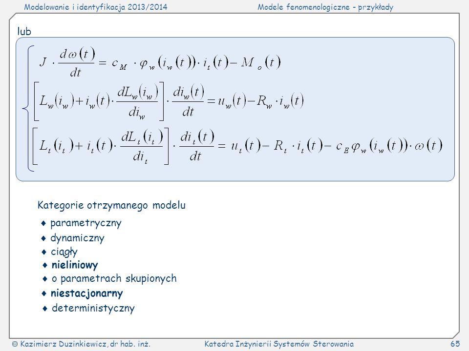 Modelowanie i identyfikacja 2013/2014Modele fenomenologiczne - przykłady Kazimierz Duzinkiewicz, dr hab. inż.Katedra Inżynierii Systemów Sterowania65