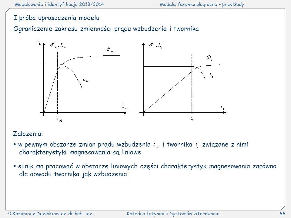 Modelowanie i identyfikacja 2013/2014Modele fenomenologiczne - przykłady Kazimierz Duzinkiewicz, dr hab. inż.Katedra Inżynierii Systemów Sterowania66