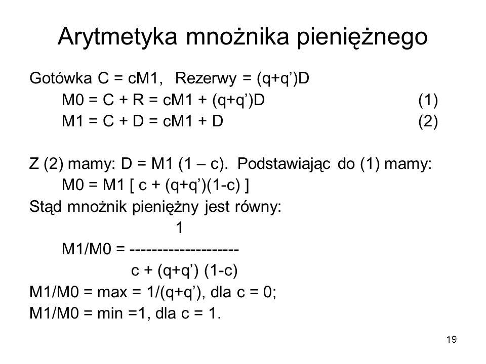 Arytmetyka mnożnika pieniężnego Gotówka C = cM1, Rezerwy = (q+q)D M0 = C + R = cM1 + (q+q)D(1) M1 = C + D = cM1 + D(2) Z (2) mamy: D = M1 (1 – c). Pod