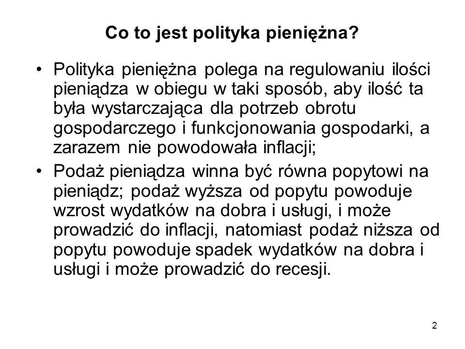 Co to jest polityka pieniężna? Polityka pieniężna polega na regulowaniu ilości pieniądza w obiegu w taki sposób, aby ilość ta była wystarczająca dla p
