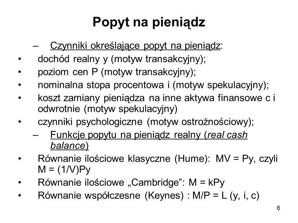 Popyt na pieniądz –Czynniki określające popyt na pieniądz: dochód realny y (motyw transakcyjny); poziom cen P (motyw transakcyjny); nominalna stopa pr