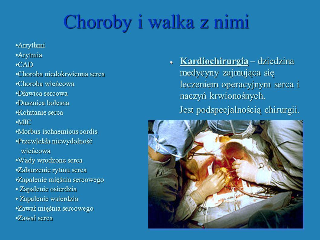 Choroby i walka z nimi Choroby i walka z nimi ArrythmiArrythmi ArytmiaArytmia CADCAD Choroba niedokrwienna sercaChoroba niedokrwienna serca Choroba wi