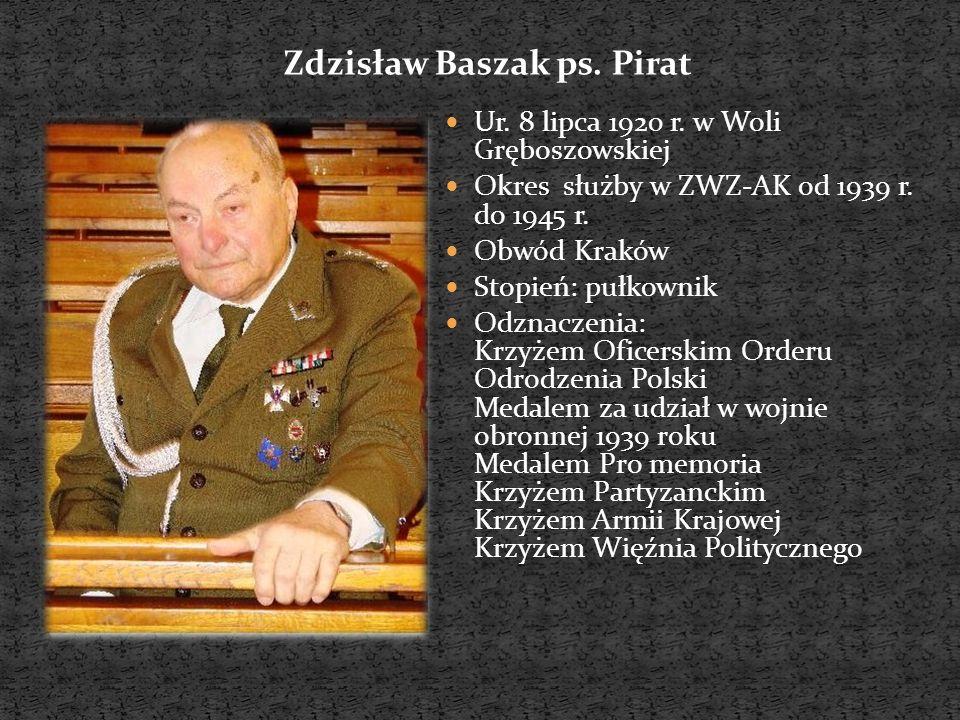 Ur.8 lipca 1920 r. w Woli Gręboszowskiej Okres służby w ZWZ-AK od 1939 r.