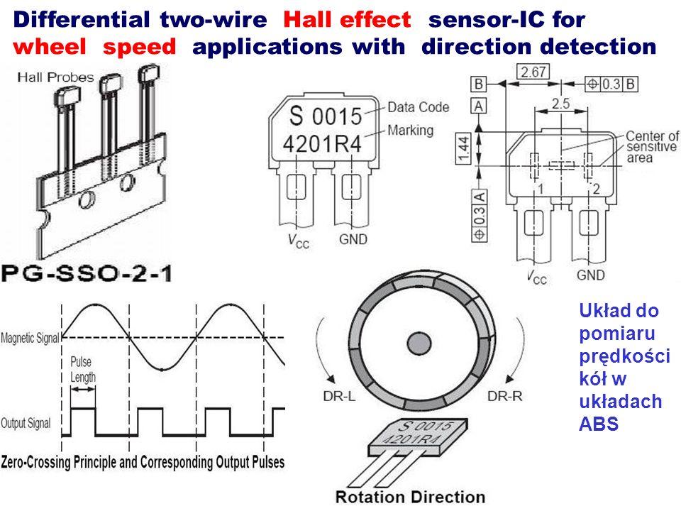 Differential two-wire Hall effect sensor-IC for wheel speed applications with direction detection Układ do pomiaru prędkości kół w układach ABS