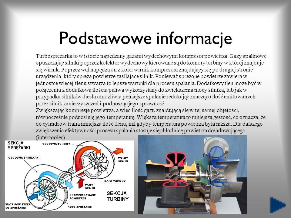 Podstawowe informacje Turbosprężarka to w istocie napędzany gazami wydechowymi kompresor powietrza. Gazy spalinowe opuszczając silniki poprzez kolekto