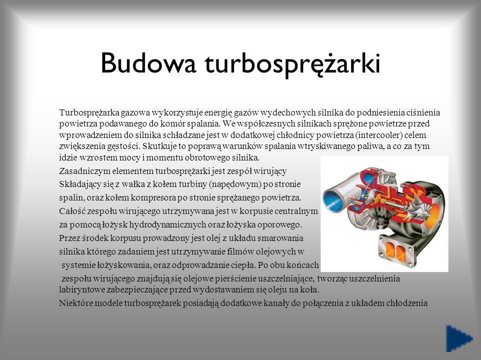 Budowa turbosprężarki Turbosprężarka gazowa wykorzystuje energię gazów wydechowych silnika do podniesienia ciśnienia powietrza podawanego do komór spa