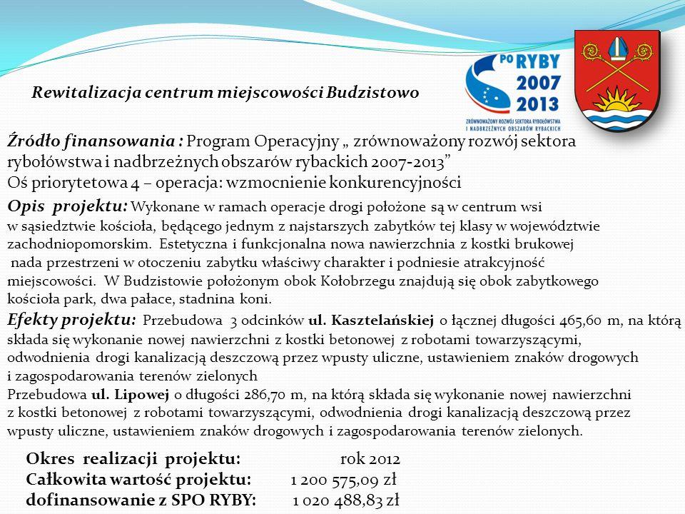 Rewitalizacja centrum miejscowości Budzistowo Źródło finansowania : Program Operacyjny zrównoważony rozwój sektora rybołówstwa i nadbrzeżnych obszarów