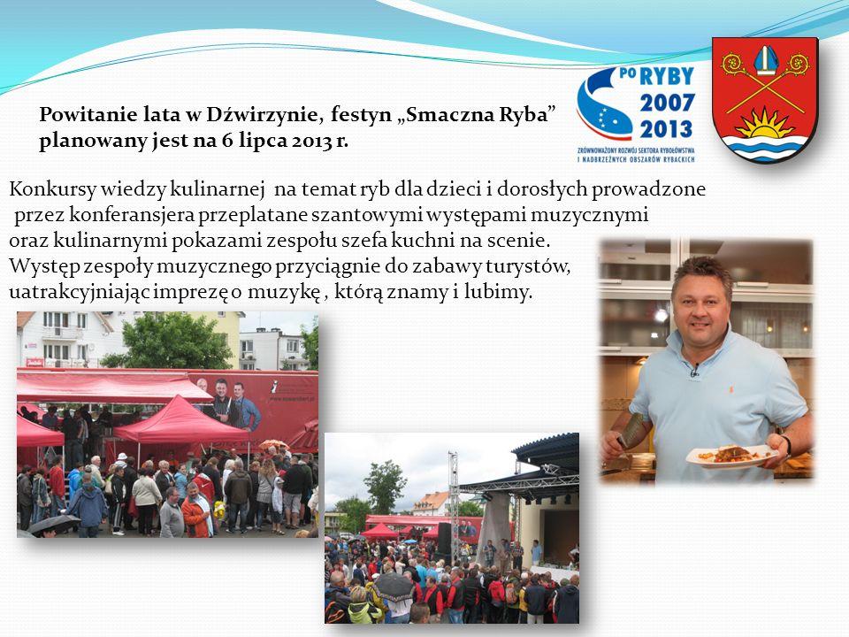 Konkursy wiedzy kulinarnej na temat ryb dla dzieci i dorosłych prowadzone przez konferansjera przeplatane szantowymi występami muzycznymi oraz kulinar