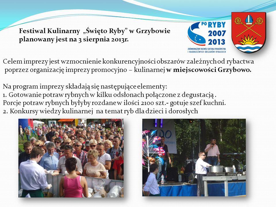 Festiwal Kulinarny Święto Ryby w Grzybowie planowany jest na 3 sierpnia 2013r. Celem imprezy jest wzmocnienie konkurencyjności obszarów zależnych od r