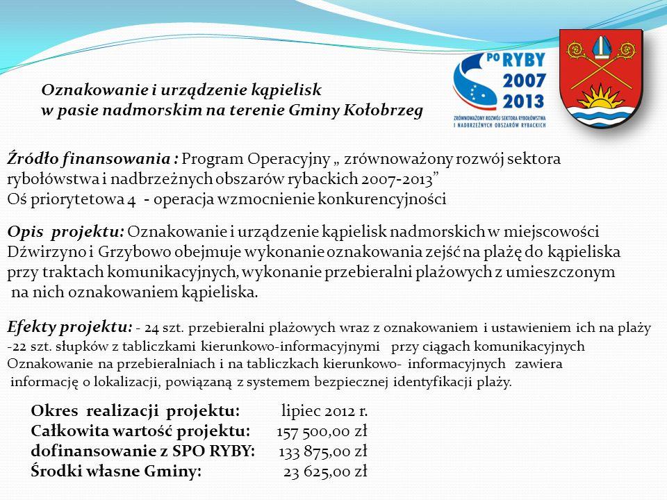 Oznakowanie i urządzenie kąpielisk w pasie nadmorskim na terenie Gminy Kołobrzeg Źródło finansowania : Program Operacyjny zrównoważony rozwój sektora