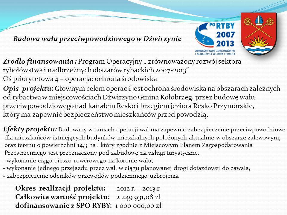 Budowa wału przeciwpowodziowego w Dźwirzynie Źródło finansowania : Program Operacyjny zrównoważony rozwój sektora rybołówstwa i nadbrzeżnych obszarów