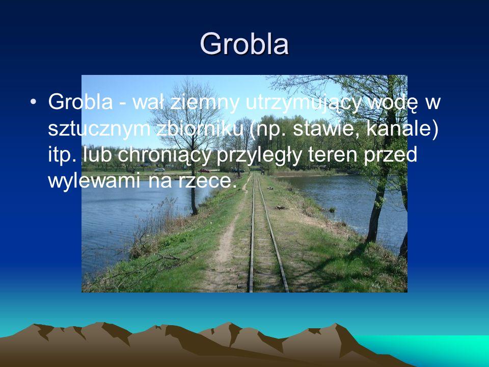 Grobla Grobla - wał ziemny utrzymujący wodę w sztucznym zbiorniku (np. stawie, kanale) itp. lub chroniący przyległy teren przed wylewami na rzece.