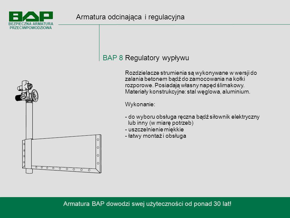 Armatura odcinająca i regulacyjna BAP 8 Regulatory wypływu Armatura BAP dowodzi swej użyteczności od ponad 30 lat.