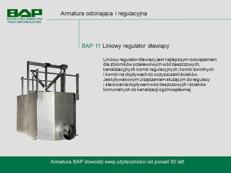 Armatura odcinająca i regulacyjna BAP 11 Liniowy regulator dławiący Armatura BAP dowodzi swej użyteczności od ponad 30 lat.