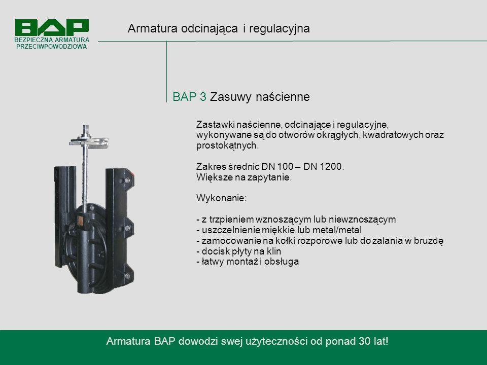 Armatura odcinająca i regulacyjna BAP 3 Zasuwy naścienne Armatura BAP dowodzi swej użyteczności od ponad 30 lat.