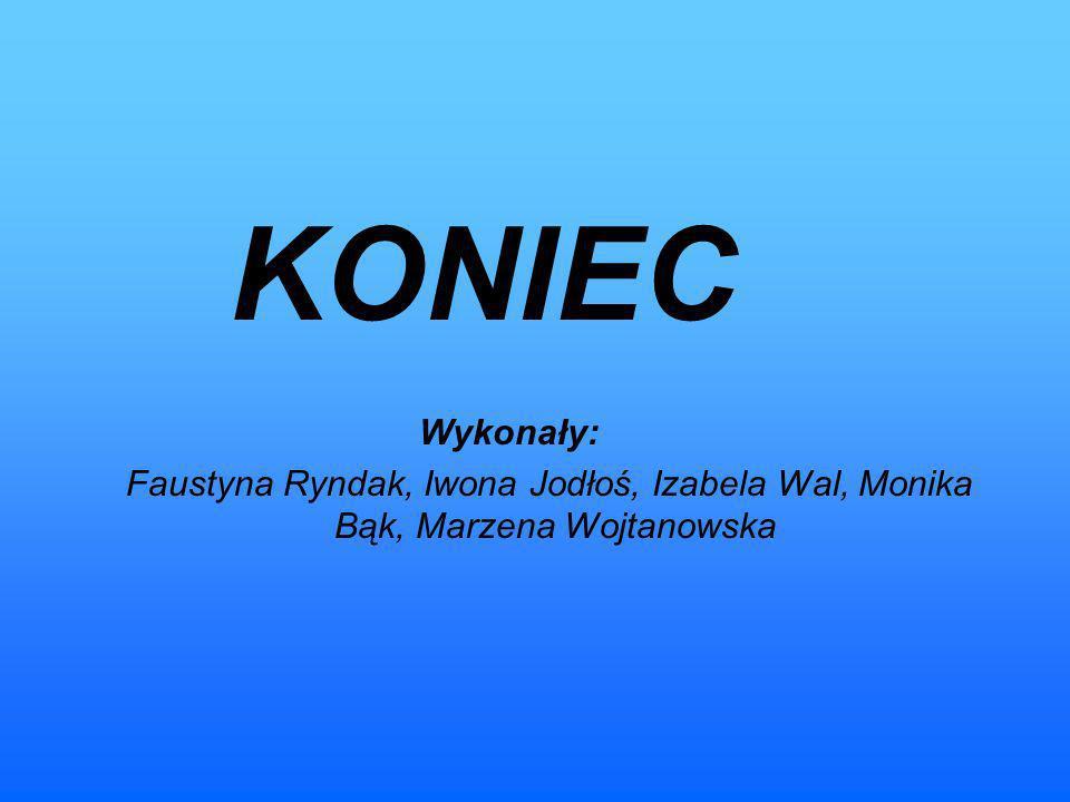 KONIEC Wykonały: Faustyna Ryndak, Iwona Jodłoś, Izabela Wal, Monika Bąk, Marzena Wojtanowska
