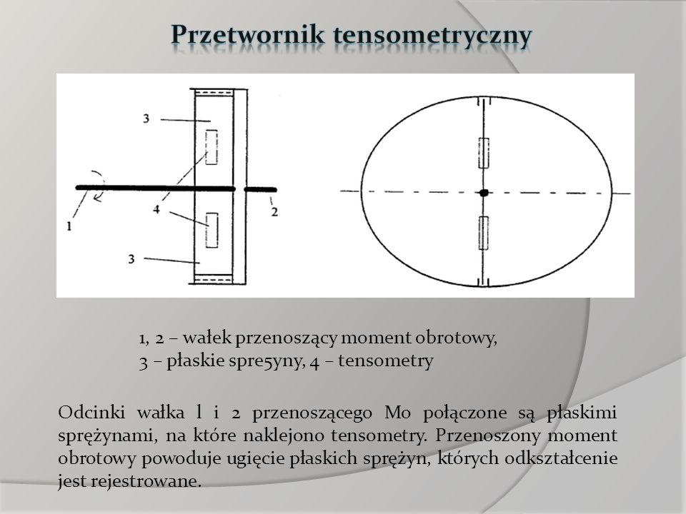 1, 2 – wałek przenoszący moment obrotowy, 3 – płaskie spre5yny, 4 – tensometry Odcinki wałka l i 2 przenoszącego Mo połączone są płaskimi sprężynami,